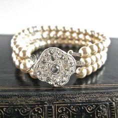 three strand rhinestone pearl bracelet by gama weddings | notonthehighstreet.com