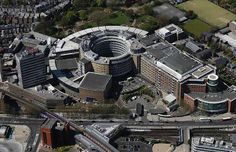 aerial photograph of the BBC Television Centre White City London Old London, West London, White City London, Shepherds Bush, The Great White, Aerial Photography, Car Parking, Wonderful Places, Bbc