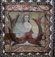 Melusine with a harp - wooden panel from St.Martin's Church in Zillis, Switzerland by Cea., via Flickr