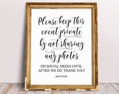 Please Keep The Event Private By Not Sharing Any Photos Until After We Do, Wedding Signs, Unplugged Wedding Sign, Wedding Social Media Sign Jenga Guest Book, Guest Book Sign, Reception Signs, Wedding Signage, Wedding Reception, Guestbook, Thank You Sign, Wedding Thank You, Wedding Cards