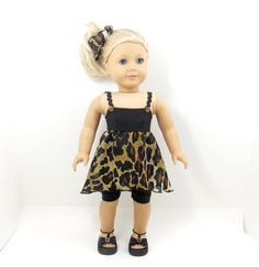 American Girl doll clothes 4 pc brown black leopard tunic, leggings, hair tie, and bracelet