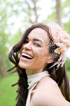 Bridal mini hat with birdcage veil and handmade silk flowers, feathers - Peachy Vintage - Made to Order