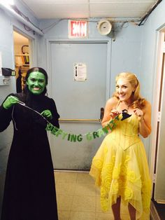 Defying Gravity/ Wicked Glitter Banner by hawthorneave on Etsy, $25.  Shown here with Broadway's Elphaba and Glinda!!
