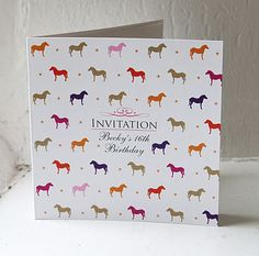 Fun pony / horse pattern printed on sparkling lustre card, personlised with your name on the front. Birthday Invitations, Invites, Horse Pattern, Pony Horse, Pony Party, 16th Birthday, Creative Business, Print Patterns, Personalized Gifts