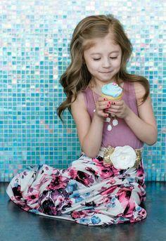 Girls More Than A Feeling Floral Bottom Maxi Dress Mauve Mauve Dress, Pink Floral Dress, Children's Boutique, Boutique Dresses, Little Girl Dresses, Flower Girl Dresses, Utah Boutiques, Modern Vintage Boutique, Mommy And Me Outfits