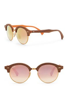 A sophisticated and chic pair of clubmaster shaped sunglasses add a bold style into any look while keeping your eyes protected. Style: Clubmaster. Measurements: 51-19-145mm (eye-bridge-temple). Frame Color: Bronze-tone, Gold/blue. Lens Color: Gradient brown/flash pink mirror, blue flash mirror. Frame Material: Wood. Lens: Plastic. 100% UV protection. Made in ItalyProposition 65 is a California regulation that requires special warnings to be presented to customers if a product contains… Clubmaster Sunglasses, Ray Ban Sunglasses, Round Sunglasses, Pink Mirror, Bold Fashion, Brand It, Nordstrom Rack, Ray Bans, Lens