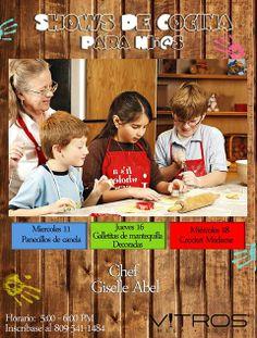 ¡Show de Cocina para Niñ@S! Trae a tu niño o niña a un divertido curso de cocina donde aprenderá a hacer galletas, dulces entre otros ricos aperitivos.  Sólo niños mayores de 7 años.  Cupo limitado.