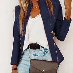 LightInTheBox - Παγκόσμιες Online Αγορές για Φορέματα, Σπίτι & Κήπος, Ηλεκτρονικά Προϊόντα, Ένδυση Γάμου Suit Jackets For Women, Winter Jackets Women, Suits For Women, Black Tops, White Tops, Denim Coat, Trench Coats, Casual Chic, Long Sleeve