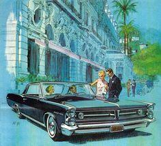 Esta maravillosa ilustración de un Pontiac Grand Prix de 1963, con el Hotel de Paris en Monte Carlo (Monaco), está firmada por AF/VK. AF (Art Fitzpatrick) era un genio diseñando automóviles desde su adolescencia. Cuando se unió a VK (Van Kauffman) que había trabajado de animador en la Disney y que era otro genio dibujando entornos y personajes, sus ilustraciones de coches no tuvieron rival.