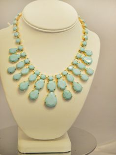 Light Blue Chandelier Necklace $32