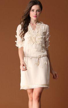 White Short Sleeve V-neck Applique Belt Dress - Sheinside.com