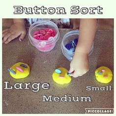 Button Sort {B sorted the buttons into Playdough by size. This is the first size activity I've done but she is old enough that she knew exactly what to do!} #toddlerlearning #toddlerapproved #toddleractivities #toddleractivity #toddlerlife #toddlersize #sizesorting #todderplaydough