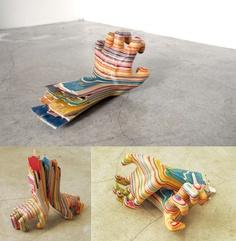 ESCULTURAS CON TABLAS DE SKATE RECICLADAS  By artista japonês Haroshi,
