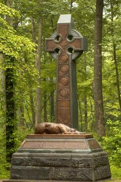 The celtic cross and Irish wolfhound adorn the monument to the 63rd, 69th and 88th New York regiments of the famous Irish Brigade.