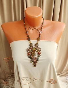 Купить Кулон Каменные цветы тигровый глаз - золотой, осенняя мода, Осенние цвета