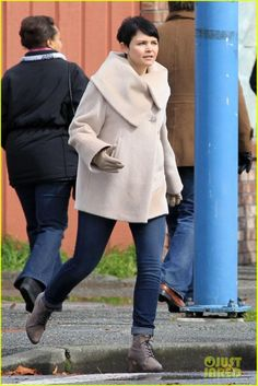"""I adore this wool coat with oversized collar, as seen on Gennifer Goodwin's character in """"Once Upon a Time.""""  Anyone have any idea who designed it?"""