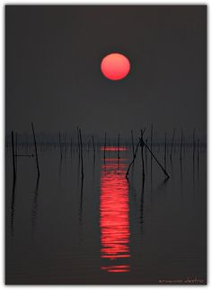 red moon reflection