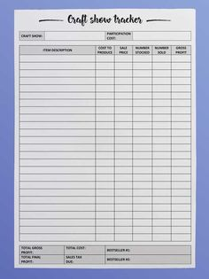 Craft fair inventory tracker - free printable - DIY Beauty Base craft show inventory tracker-min Craft Show Displays, Craft Show Booths, Craft Show Ideas, Art And Craft Shows, Craft Fair Ideas To Sell, Fall Craft Fairs, Local Craft Fairs, Shop Displays, Window Displays