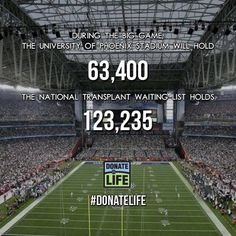 Two stadiums full of people are waiting for a second chance at life - 21 of them die each day because an organ was not donated in time. Sign up to be an organ, eye and tissue donor today, www.donatelife.net #superbowl #donatelife #TwoStadiums