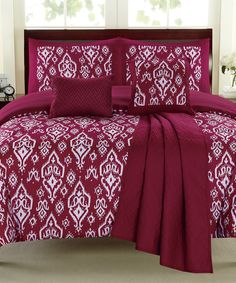 Look at this Raspberry Geometric Comforter Set on #zulily today!
