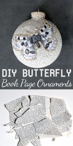 Book Page Crafts Ornaments, DIY and Crafts, DIY Butterfly Book Page Ornament-made with torn paper scraps. I love to recycle and upcycle. Old Book Crafts, Book Page Crafts, Diy Christmas Ornaments, Christmas Balls, Homemade Christmas, Christmas Projects, Holiday Crafts, Christmas Decorations, Christmas Ideas