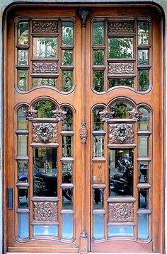 Art Nouveau glass and wood doors of Casa Marti Llorenc, Barcelona, Spain Door Knockers, Door Knobs, Door Handles, Cool Doors, Unique Doors, Art Nouveau, Entrance Doors, Doorway, Grand Entrance