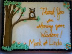Owl teacher retirement cake