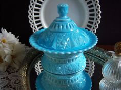 """Blue Milk Glass - Challinor and Taylor """"Clio"""" Butter Dish - Blue Milk Glass…"""