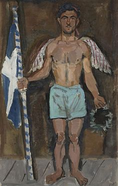 Yannis Tsarouchis / Evgenios Spatharis as an angel at the apotheosis of Athanasios Diakos 1948 Classical Period, Classical Art, Greece Painting, Queer Art, Hellenistic Period, Painter Artist, Post Impressionism, Art Database, Gay Art