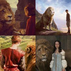 Each Pevensie with Aslan