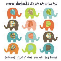 clip art elephants elephant clipart orange green blue by huetoo, $7.00