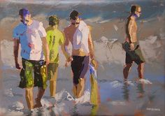The Boys by makiwa mutomba Oil Portrait, Portrait Paintings, Oil Paintings, Beach Paintings, South African Artists, Portrait Sketches, Male Figure, Outdoor Art, Swimmers