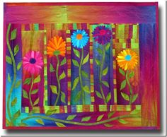 """Quilt Inspiration: Dances With Nature: The Quilts of Frieda Anderson - """"Autumn Mums"""". Patchwork Quilting, Applique Quilts, Crazy Quilting, Crazy Patchwork, Colorful Quilts, Small Quilts, Mini Quilts, Quilting Projects, Quilting Designs"""