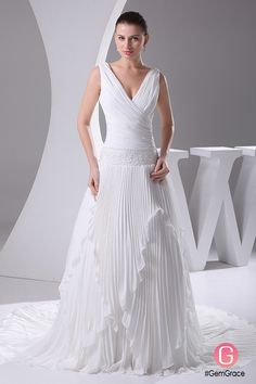 Only $249.9, Wedding Dresses Pleated Chiffon V-neck Wedding Dress Long Train #OPH1042 at #GemGrace. View more special Wedding Dresses now? GemGrace is a solution for those who want to buy delicate gowns with affordable prices, a solution for those who have unique ideas about their gowns. 2018 new arrivals, shop now to get $20 off!