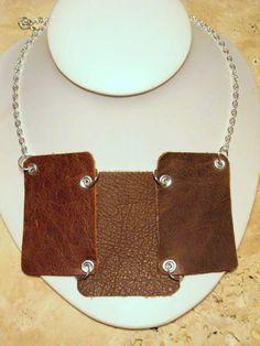 Brown Leather Bib Necklace. $25.00, via Etsy.