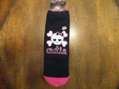 NWT PINK COOKIE Womens Skull Crossbone Slipper Socks Black & Pink Glitter Cutie  #PinkCookie #SlipperSocks