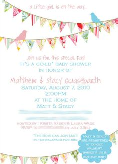 The Birds & the Bees: Birds & Bunting: Baby Shower Invites