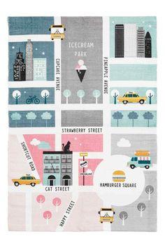 Katoenen vloerkleed met motief - Multicolour/stad - HOME | H&M NL