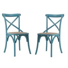 Adeco Light Blue Elm Wood Rattan Vintage-style Dining Chairs (Set of 2) | Overstock.com Shopping - The Best Deals on Dining Chairs