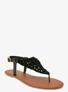 Black detailed sandals