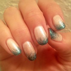 I sponged delicate glitter for the fade on this mani. Nail Polish: A England - Morgan Le Fay, Butter London - Henley Regatta, Seche Vite - Dry Fast Top Coat