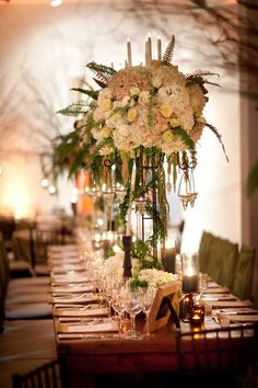 More stunning floral decor from this gorgeous wedding on Style Me Pretty ~ New York ~ http://StyleMePretty.com/new-york-weddings/2012/04/12/new-york-wedding-at-the-chelsea-art-museum-by-allan-zepeda/ Photography by allanzepeda.com, Floral Design by davidtutera.com