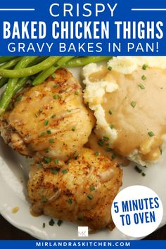 These super easy from scratch baked chicken thighs come out of the oven wonderfully crispy and tender! The recipe also makes a delicious chicken gravy right in the pan while it bakes! And it only takes 5 MINUTES TO GET IN THE OVEN. A recipe this easy and delicious should be on the menu every few weeks! A option to make the recipe gluten free is included in the recipe! #chicken #maindish #fromscratch #easy Chicken Gravy, Recipe Chicken, Yum Yum Chicken, Easy Chicken Recipes, Easy Recipes, Easy Meals, Easy Baked Chicken Thighs, Crispy Oven Baked Chicken, Crockpot Chicken Thighs
