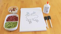 Soothing Sunday Art for Kids: dried beans in three or more varieties, canvas or cardstock paper, standard school glue, small paint brushes or sponges, an outline of an image of your child's choosing (try not to pick anything intricate).   Hidden Picture Bean Mosaics