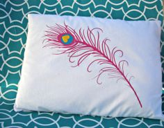 peacock feather pillow with heat transfer