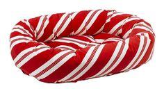 Bowsers Peppermint Stripe Microvelvet Donut Dog Bed