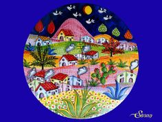 Enjoy this unusual style! The Naive kind is linked to the world of dreams and enchantment of the world of fairy tales. Pottery Painting, Ceramic Painting, Ceramic Art, Pottery Plates, Glazes For Pottery, Painted Rocks, Hand Painted, China Painting, Naive Art