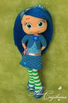 PLEASE NOTE! That this is a pattern only - not a finished project!  This pattern is written in English language (USA terminology).  SKILL LEVEL: Intermediate  ******************************** You can buy the yarn set for crocheting this doll https://www.etsy.com/ru/listing/497016251/yarn-set-for-crocheting-blueberry-muffin?ref=related-4  ********************************  MATERIALS AND TOOLS ******************************** 1. Yarn 100% cotton – 50 g of skin color, some white, green, blue…