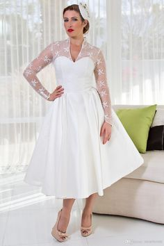 Plus Size Sheer V Neck Wedding Dresses With Long Sleeves Tulle Stain Ball Gowns Lace Applique Short Tea Length Bridal Dress US $102.00