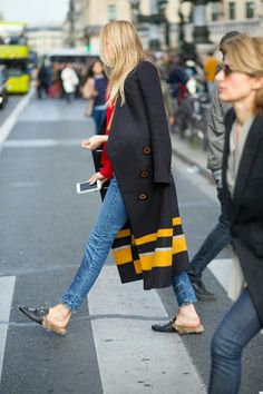 Long coat, jeans and Gucci mules